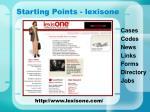 starting points lexisone