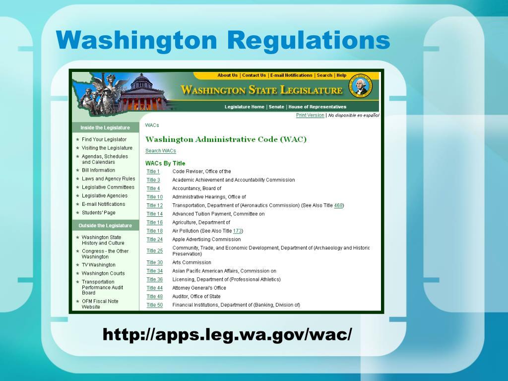 Washington Regulations