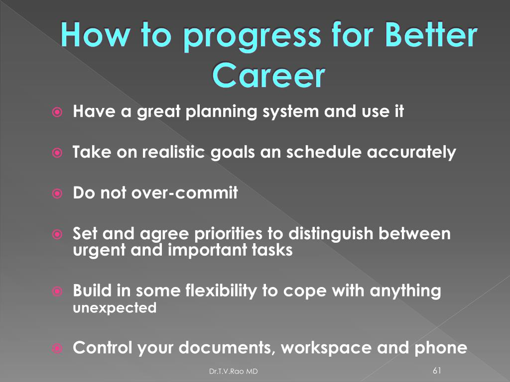How to progress for Better Career