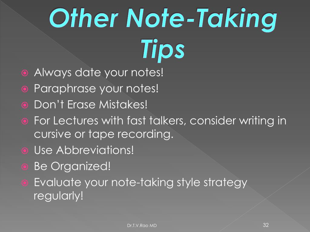 Other Note-Taking Tips