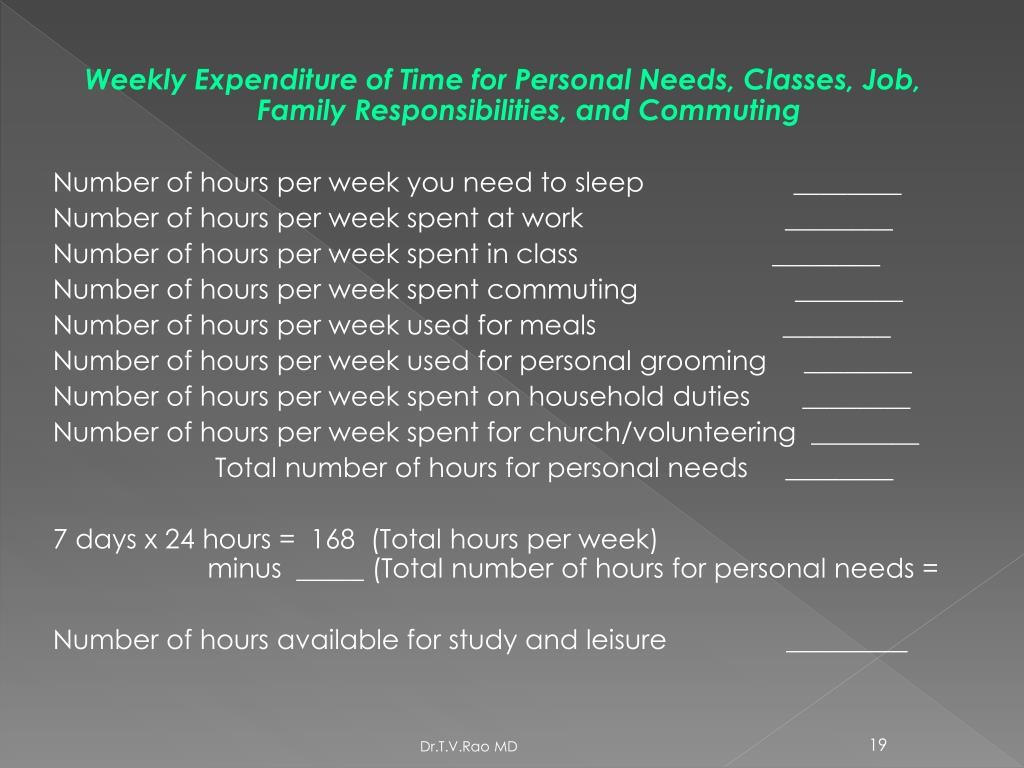 Weekly Expenditure of Time for Personal Needs, Classes, Job, Family Responsibilities, and Commuting