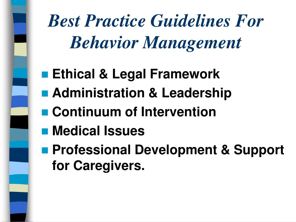 Best Practice Guidelines For Behavior Management