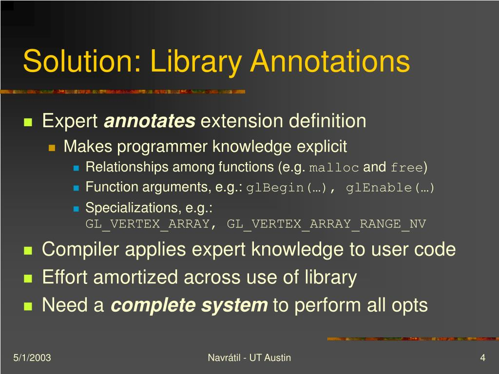 Solution: Library Annotations