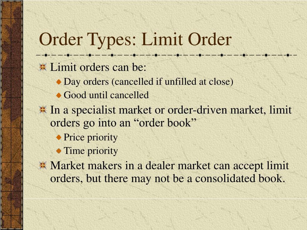 Order Types: Limit Order