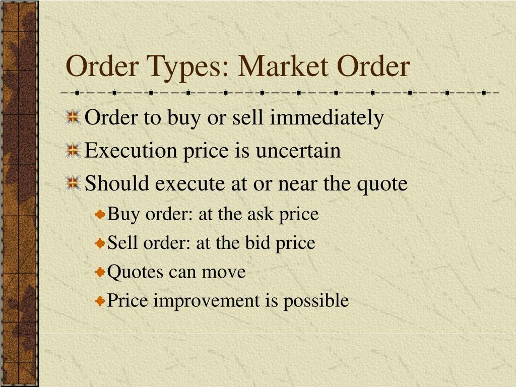 Order Types: Market Order