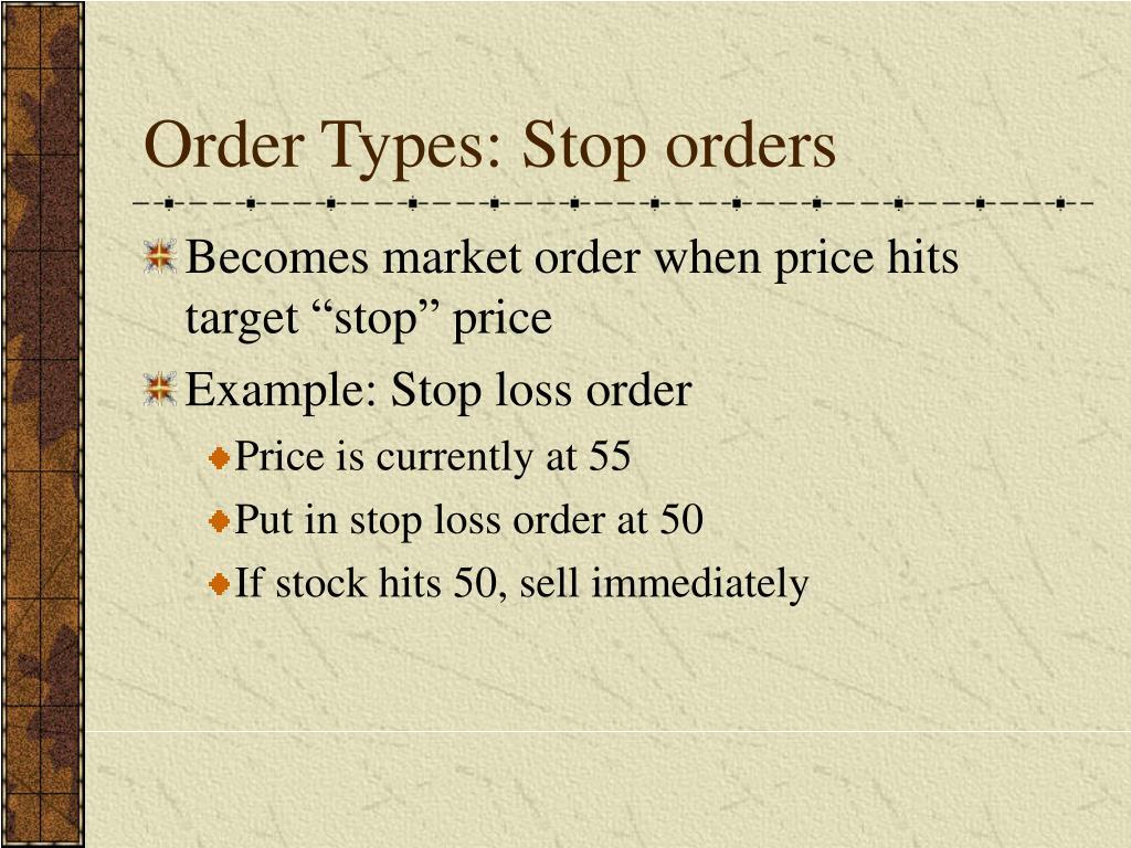 Order Types: Stop orders