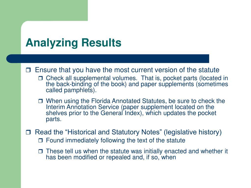 Analyzing Results