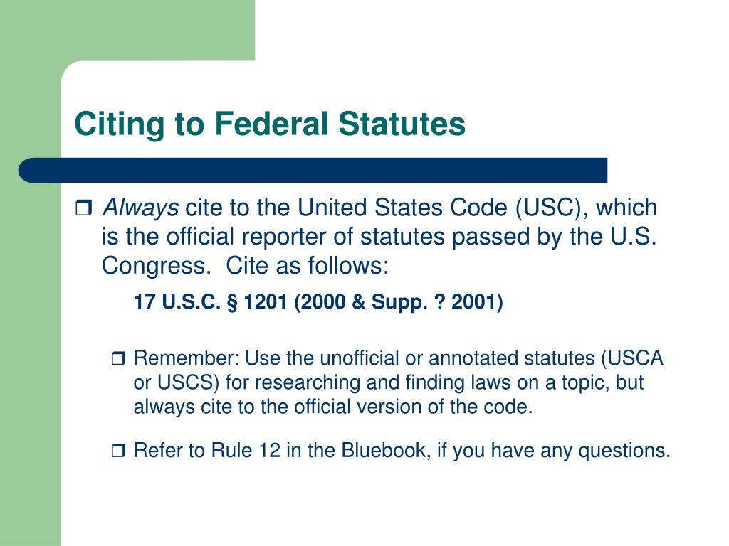 Citing to Federal Statutes