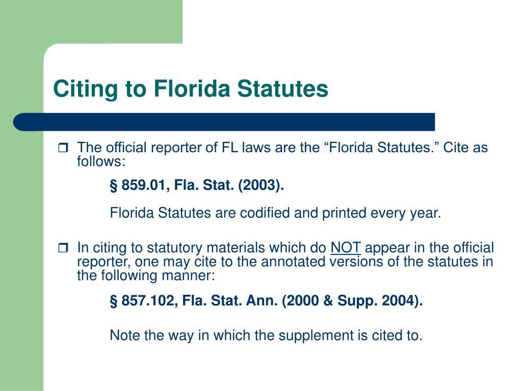 Citing to Florida Statutes