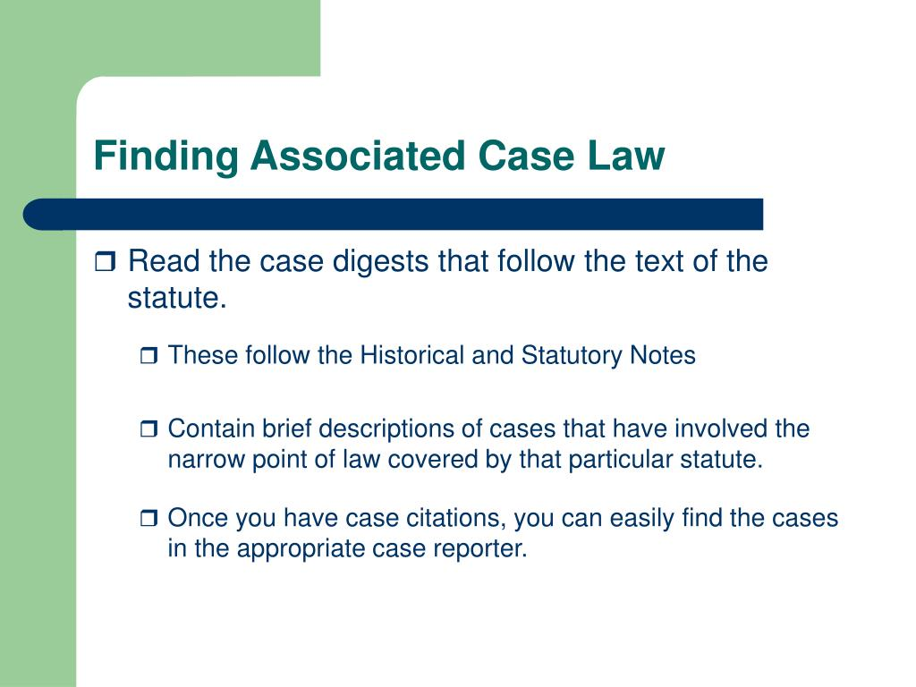 Finding Associated Case Law