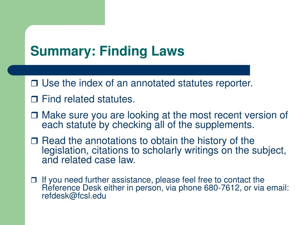 Summary: Finding Laws