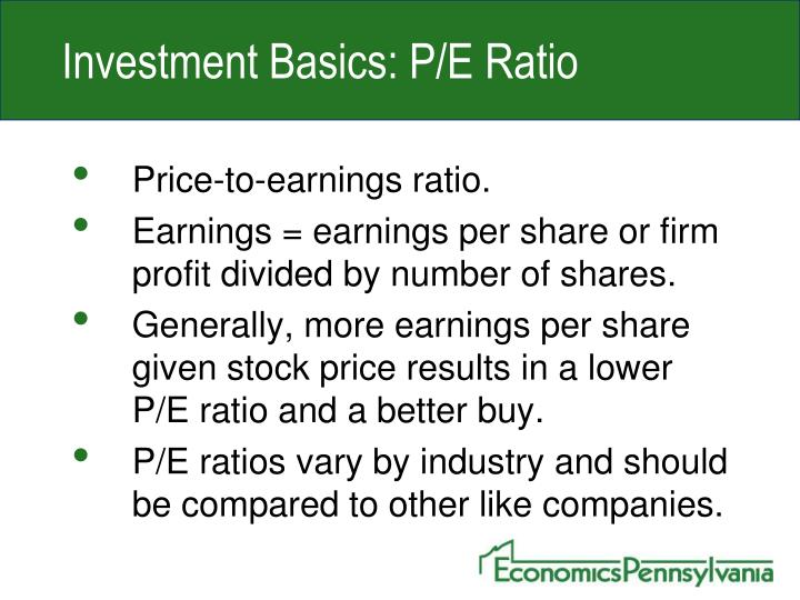 Investment Basics: P/E Ratio