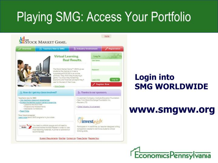 Playing SMG: Access Your Portfolio