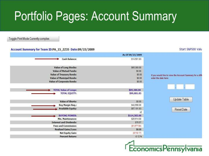 Portfolio Pages: Account Summary