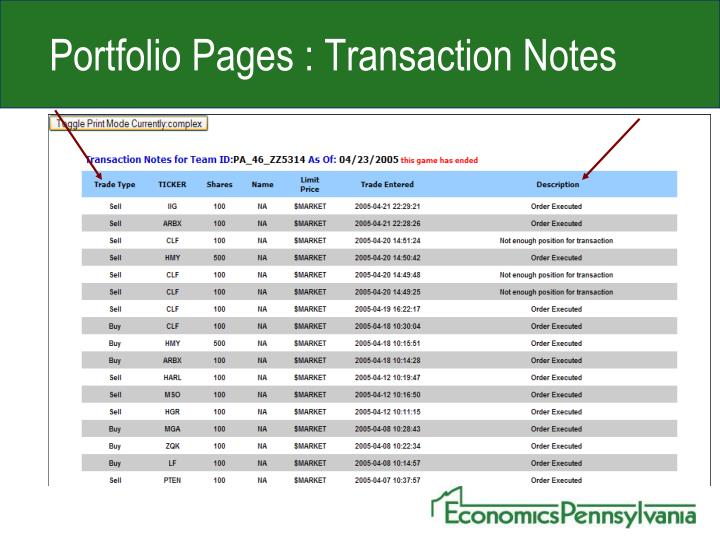 Portfolio Pages : Transaction Notes