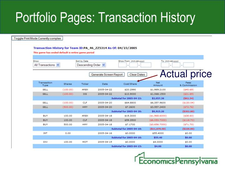 Portfolio Pages: Transaction History