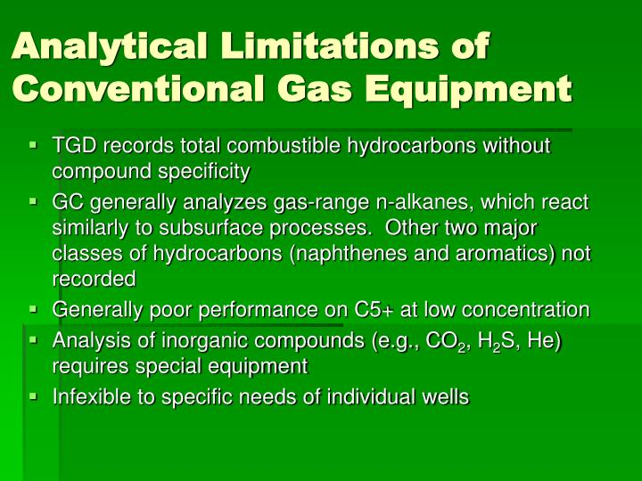 Analytical limitations of conventional gas equipment