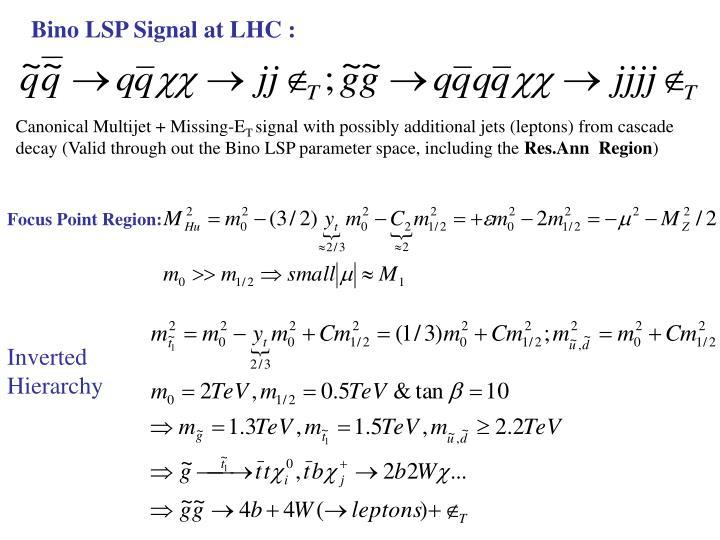 Bino LSP Signal at LHC :