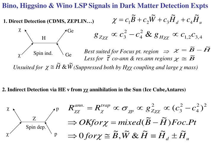 Bino, Higgsino & Wino LSP Signals in Dark Matter Detection Expts