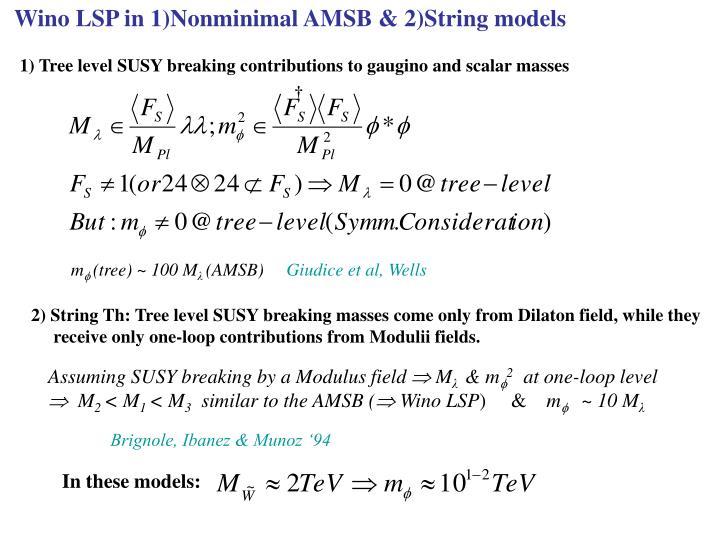 Wino LSP in 1)Nonminimal AMSB & 2)String models