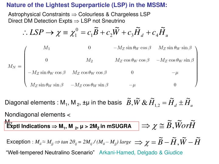 Nature of the Lightest Superparticle (LSP) in the MSSM: