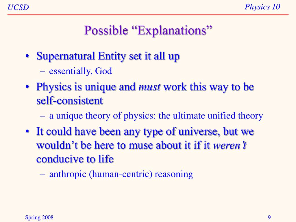 """Possible """"Explanations"""""""