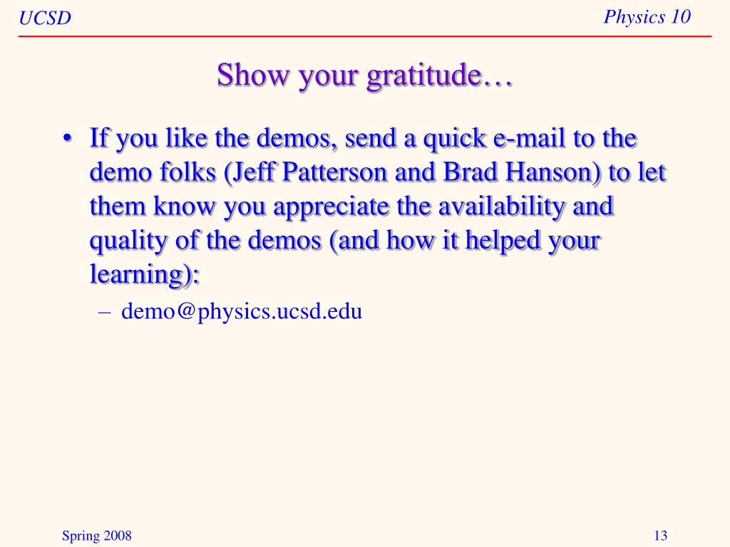 Show your gratitude…
