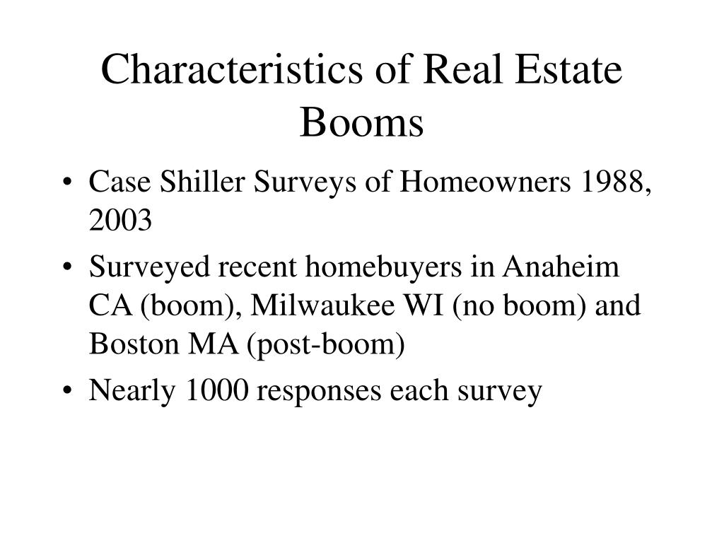 Characteristics of Real Estate Booms