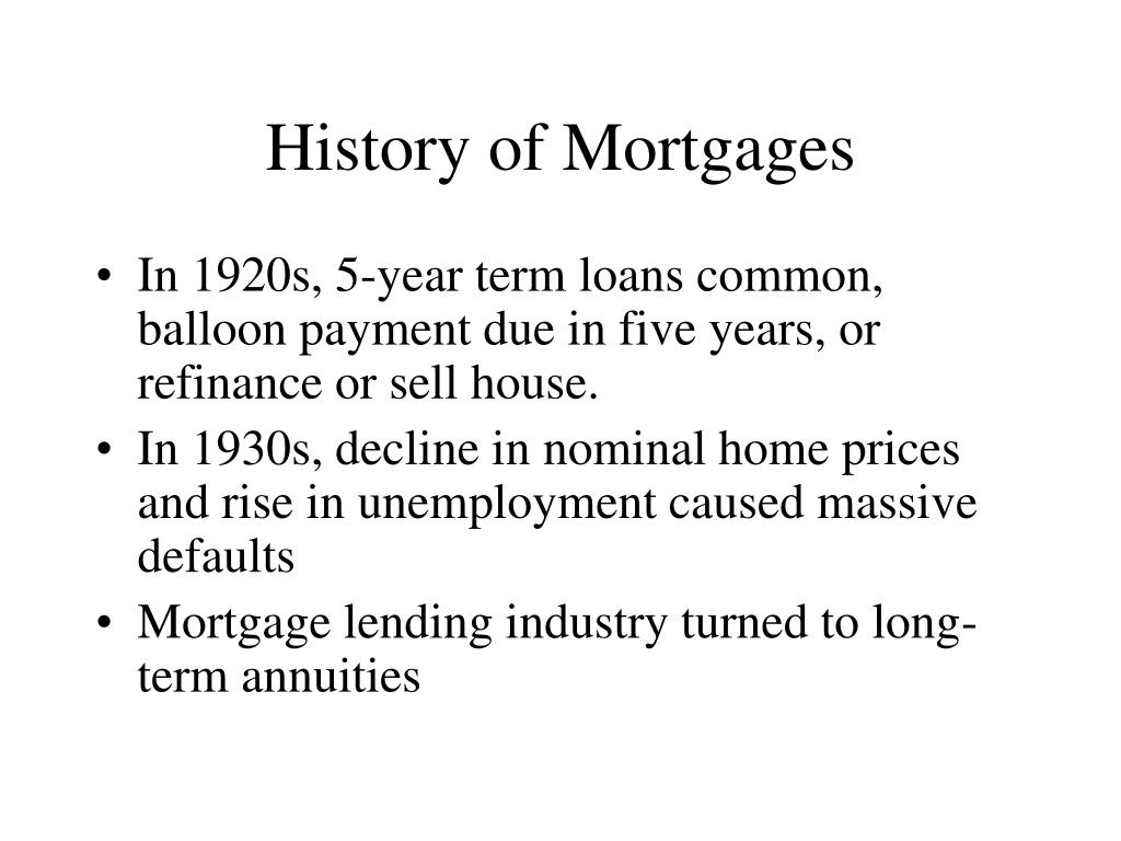 History of Mortgages