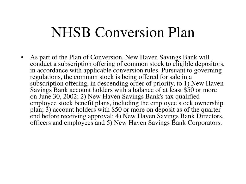 NHSB Conversion Plan