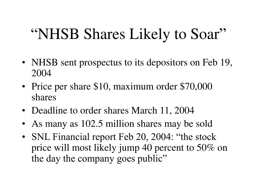 """NHSB Shares Likely to Soar"""