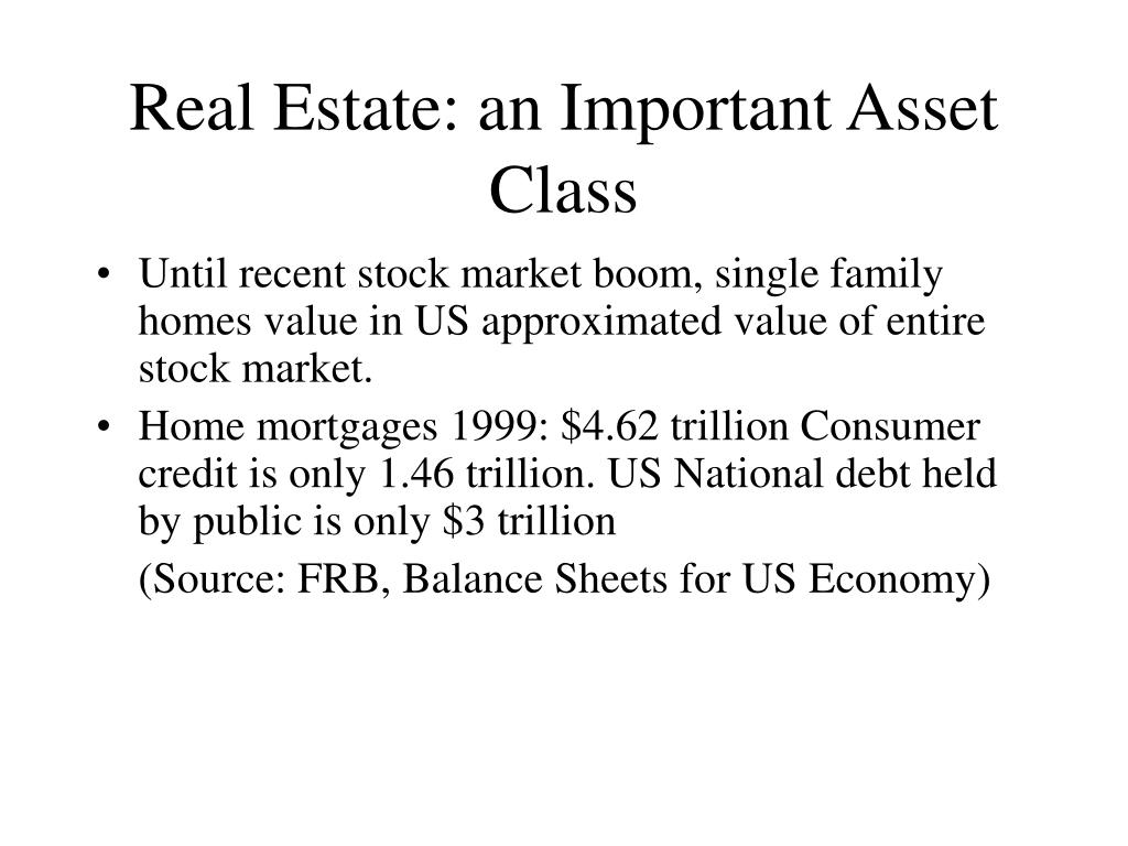 Real Estate: an Important Asset Class