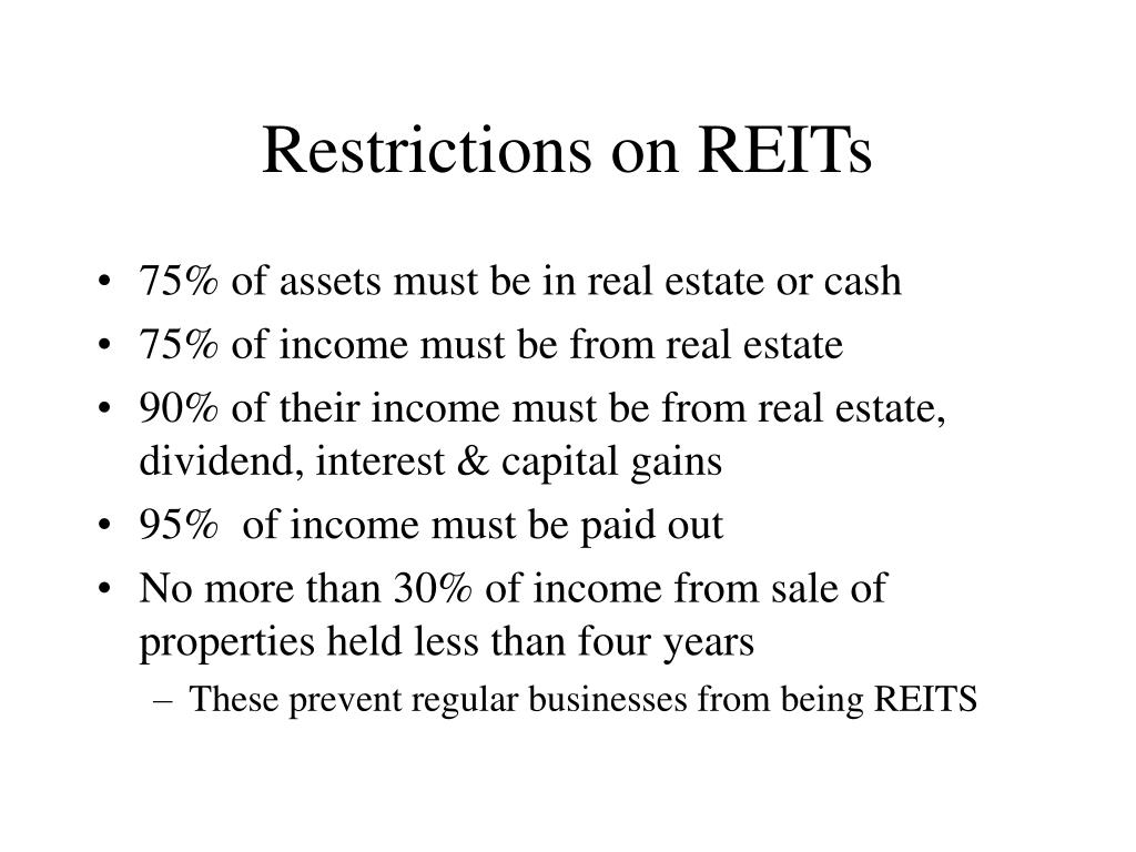 Restrictions on REITs