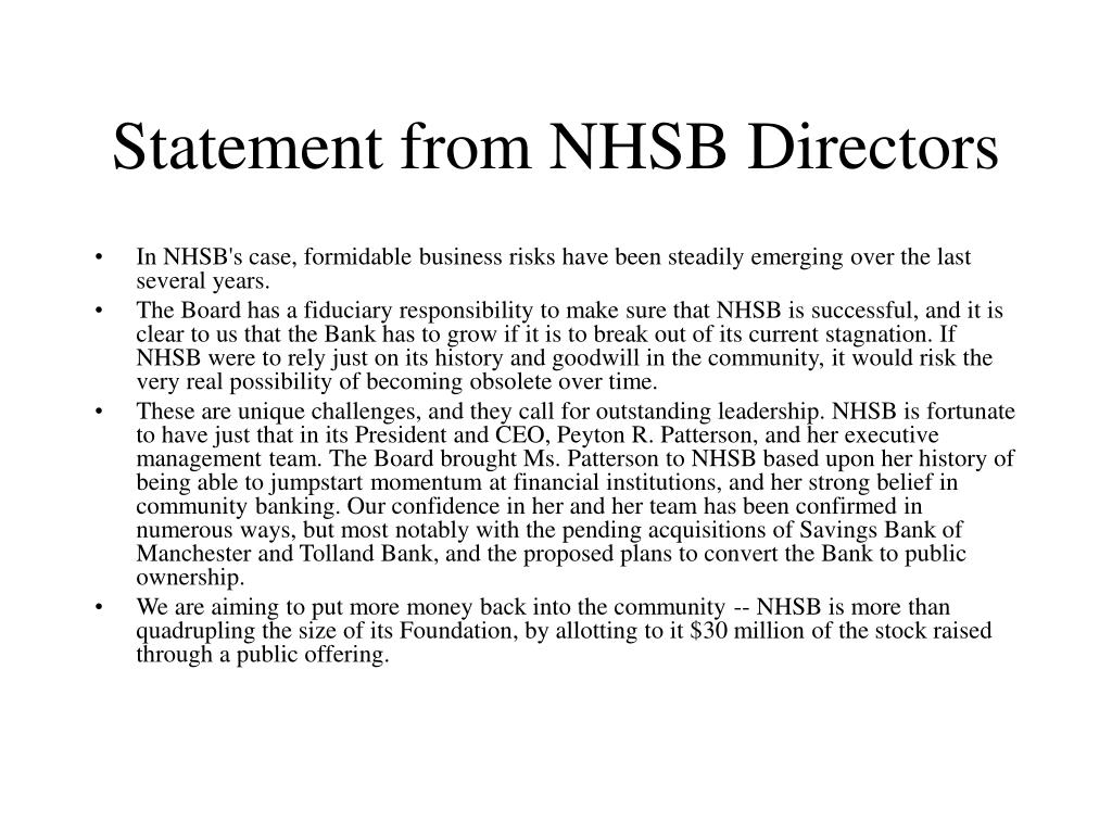 Statement from NHSB Directors