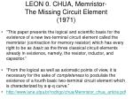 leon 0 chua memristor the missing circuit element 1971