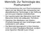 memristik zur technologie des posthumanen