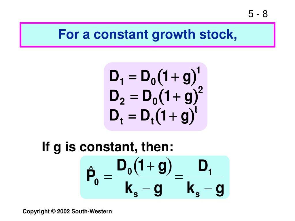 For a constant growth stock,