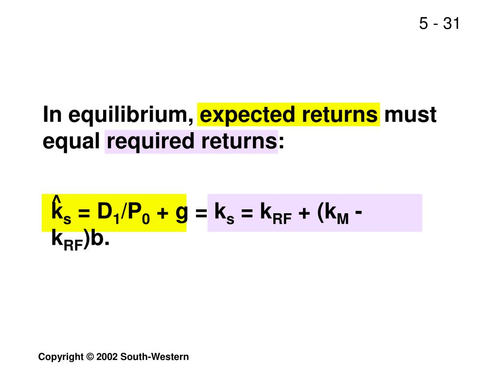 In equilibrium, expected returns must