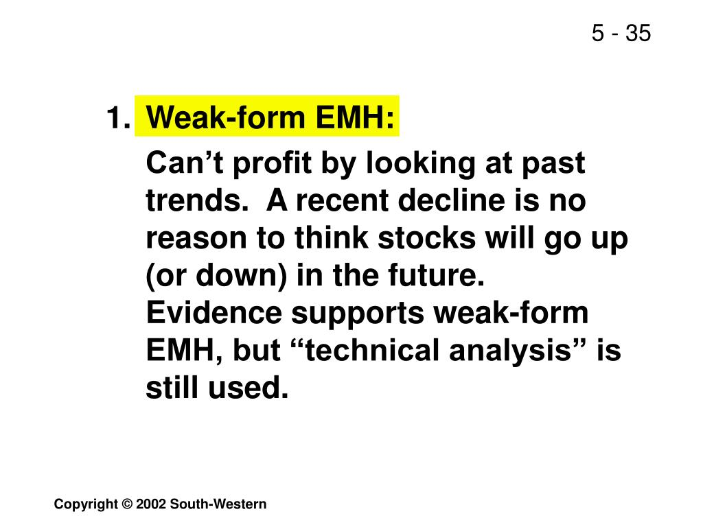 1.	Weak-form EMH: