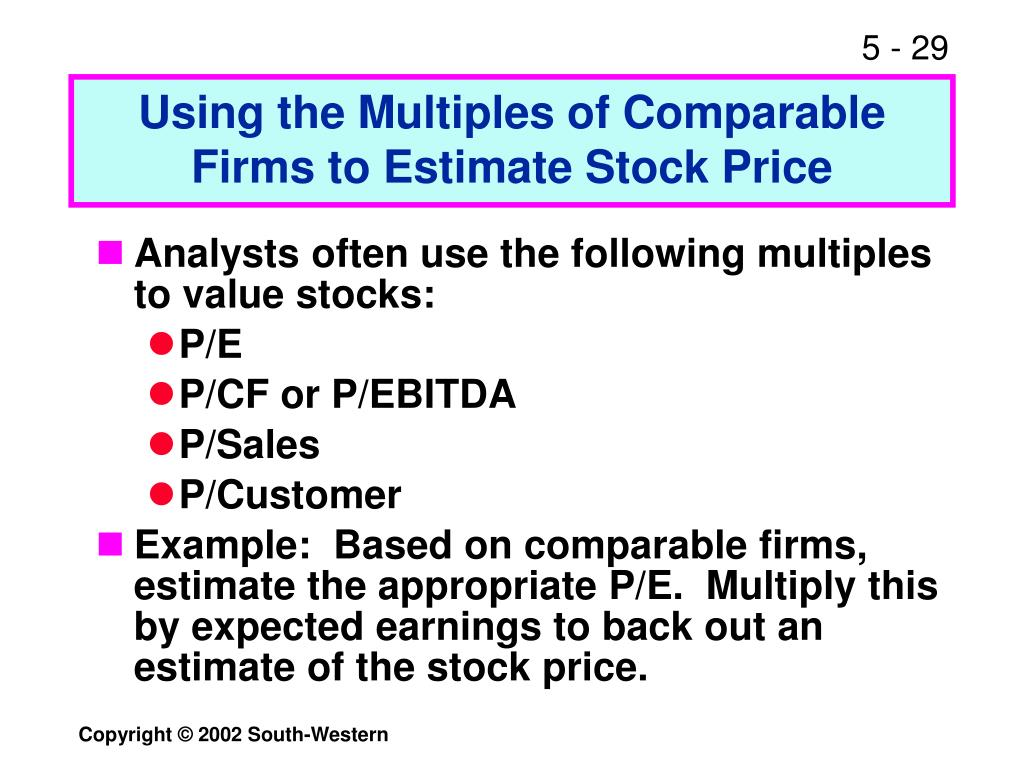 Using the Multiples of Comparable Firms to Estimate Stock Price