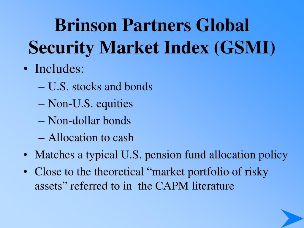 Brinson Partners Global Security Market Index (GSMI)