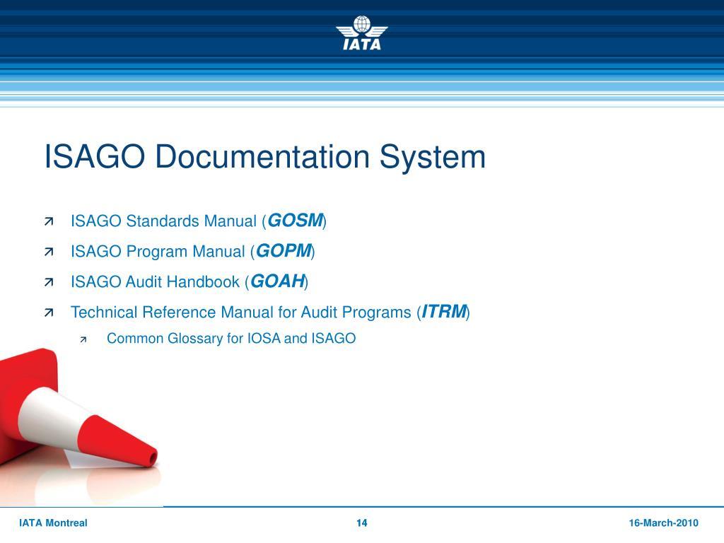 Isago Documentation System Standards Manual Iata
