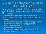 causes of the bolshevik revolution the return of lenin