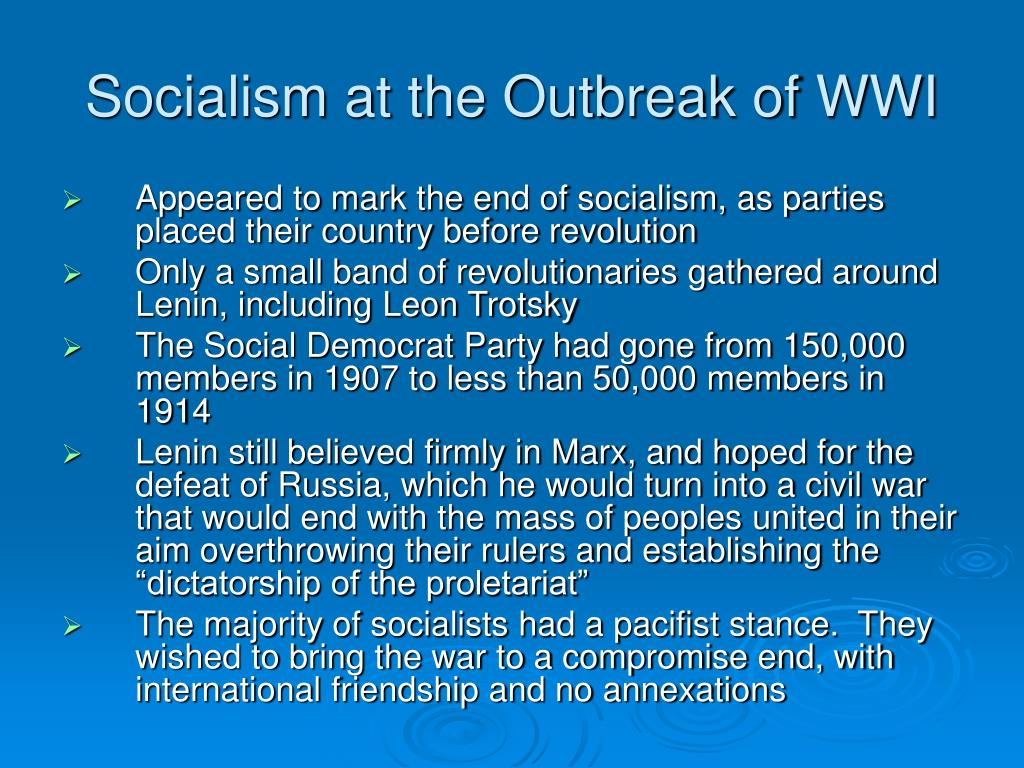Socialism at the Outbreak of WWI