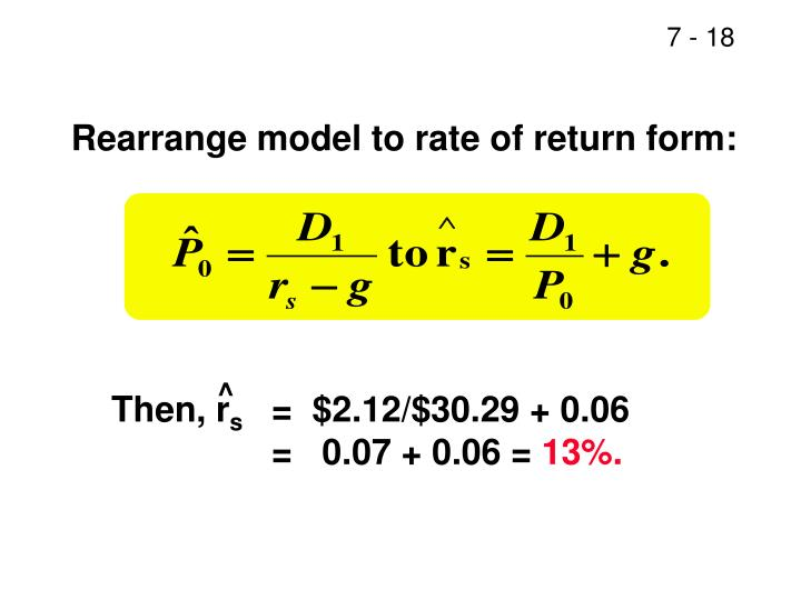 Rearrange model to rate of return form: