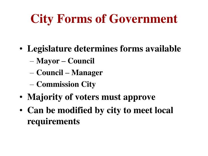 City Forms of Government