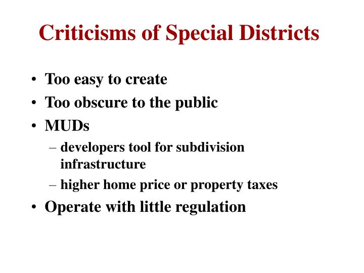 Criticisms of Special Districts