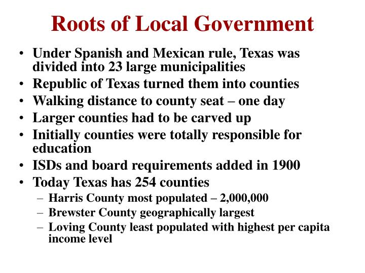 Roots of Local Government