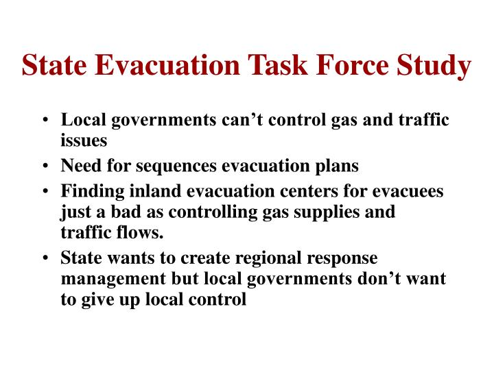 State Evacuation Task Force Study