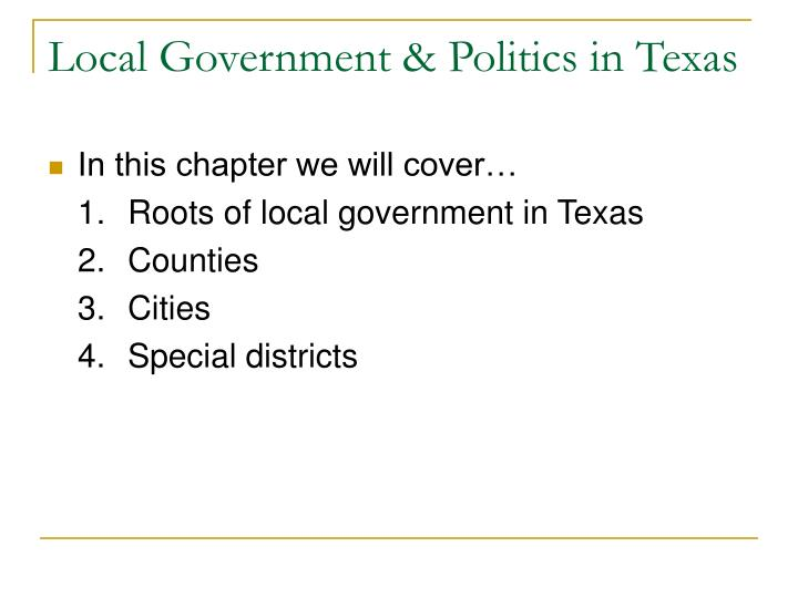 Local government politics in texas